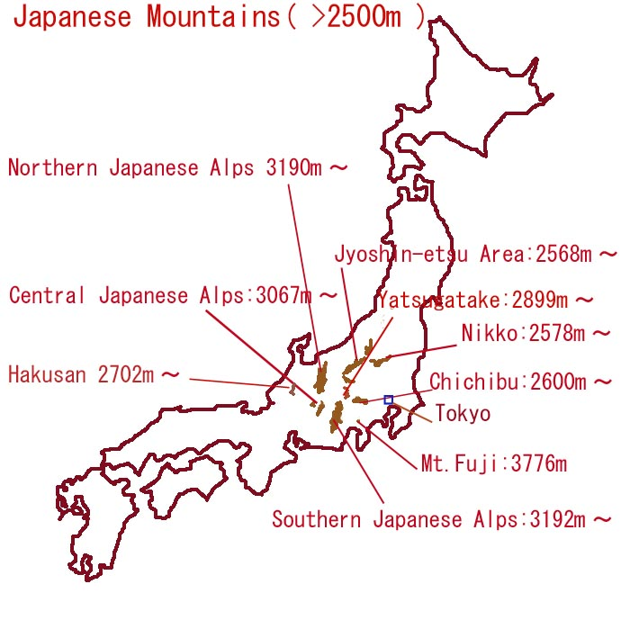 Japan has a mountain range
